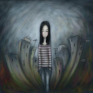 נערה הולכת ברחוב בעיר בדיכאון - ציור
